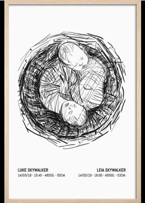 Fødselsplakat Line Art – Tvillinger