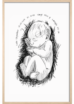 Fødselsplakat Line Art – Sleeping Beauty