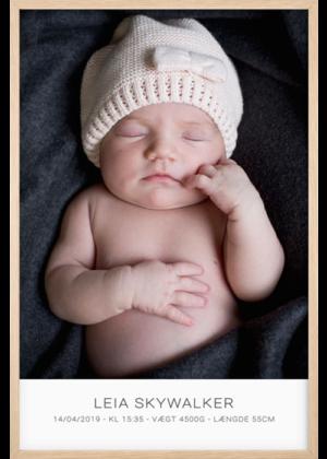 Fødselsplakat Med Babyportræt